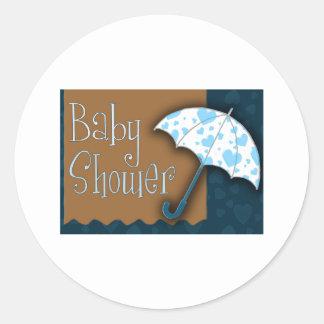 Baby boy baby shower round sticker
