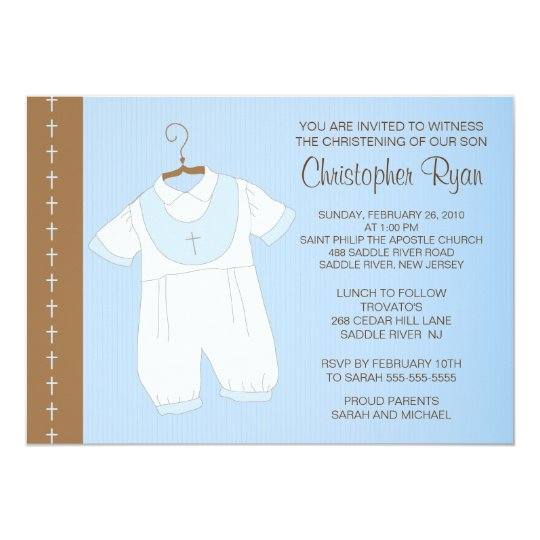 Baby Boy Baptism / Christening Inviation Card