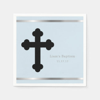 Baby Boy Baptism Personalized Baby Blue Cross Disposable Serviettes