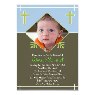 Baby Boy Baptism Photo Flat Invitation
