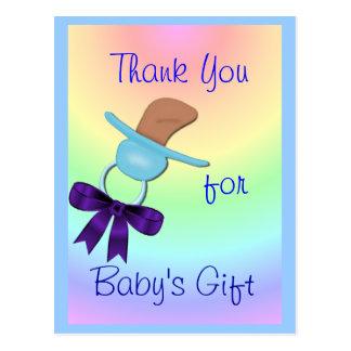 Baby Boy  Binkie Thank You postcard - customize