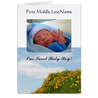 Baby Boy Birth Annoucement Baby Photo Cards Custom