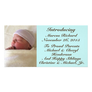 Baby Boy Birth Announcement Brown Font on Blue Picture Card