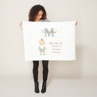 Baby Boy Birth Announcement Fleece Blanket