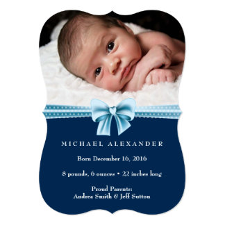 Baby boy birth announcement ı Photo card
