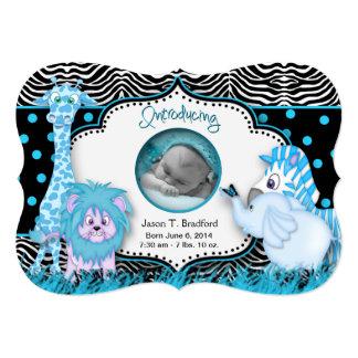 "BABY BOY BIRTH ANNOUNCEMENTS (Baby BLUE Animals) 5"" X 7"" Invitation Card"