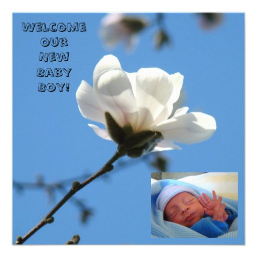 Baby Boy Birth Announcements Cards Blue New Baby