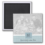 baby boy birth announcements square magnet