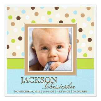 Baby Boy Birth Two Photos in Blue + Green Dots Card