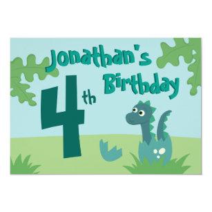 Baby Boy Birthday Invitation With Cute Dino