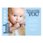 Baby Boy Blue 1st Birthday Thank You Photo Card Personalized Announcements