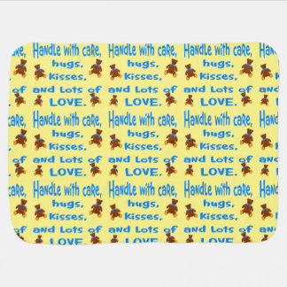 Baby Boy Blue and yellow Handle with Love Baby Blanket