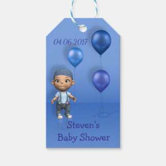 Baby Boy & Blue Balloons - Baby Shower Gift Tag