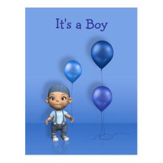 Baby Boy & Blue Balloons - It's a Boy Postcard