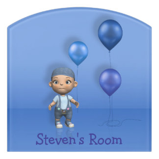Baby Boy & Blue Balloons Name This! - Room Sign