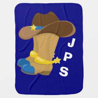 Baby Boy Blue Cowboy Boots Hat Western Customized Baby Blanket