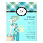 Baby Boy Blue Cute Shower Flowers Personalised Announcements