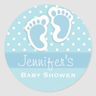 Baby Boy Blue Footprint Polka Dot Shower Stickers