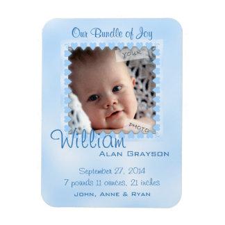 Baby Boy Blue Hearts Photo Birth Announcement Rectangular Photo Magnet