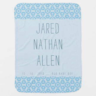Baby Boy Blue Name Blanket With Geometric Border