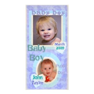 Baby Boy Blue & Purple Vintage Photo Card