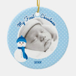 Baby Boy Blue Snowman First Christmas Photo Round Ceramic Decoration