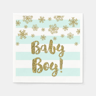 Baby Boy Blue Stripes Gold Snow Baby Shower Disposable Napkins