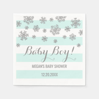 Baby Boy! Blue Stripes Silver Snow Baby Shower Disposable Napkin