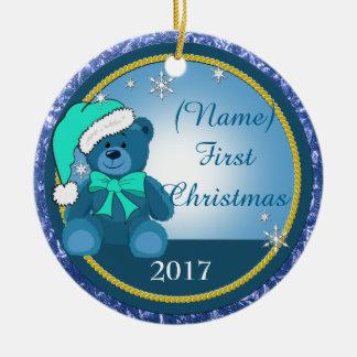 Baby Boy Blue Teddy Bear Personalised Christmas Ceramic Ornament