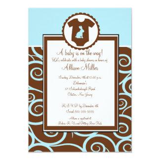 Baby Boy Bodysuit Swirl Boy Baby Shower Invitation