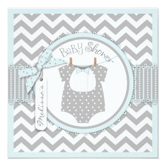 Baby Boy Bow Tie Chevron Print Baby Shower 13 Cm X 13 Cm Square Invitation Card
