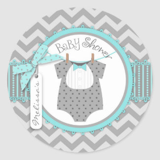 Baby Boy Bow Tie Chevron Print Baby Shower Classic Round Sticker