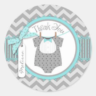 Baby Boy Bow Tie Chevron Print Thank You Round Sticker