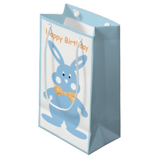 Baby Boy Bunny Custom Birthday SGB Small Gift Bag