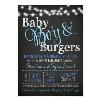 Baby Boy Burgers BBQ Shower Invitation Book Card
