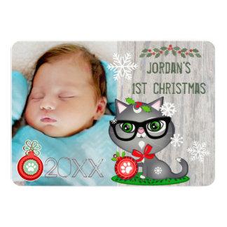 Baby Boy Cat Lover First Christmas Greeting Card 13 Cm X 18 Cm Invitation Card
