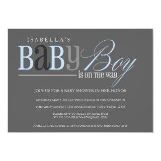 Baby Boy | Charcoal 13 Cm X 18 Cm Invitation Card
