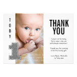 Baby Boy Chevron 1st Birthday Thank You Photo Card Custom Invite