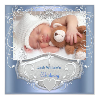 Baby Boy Christening Baptism Blue Silver Cross Card