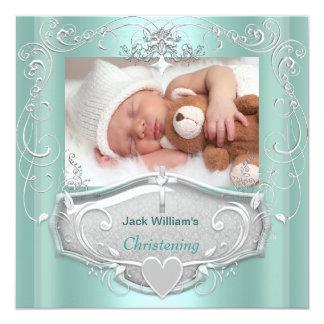 Baby Boy Christening Baptism Mint Silver Cross Card