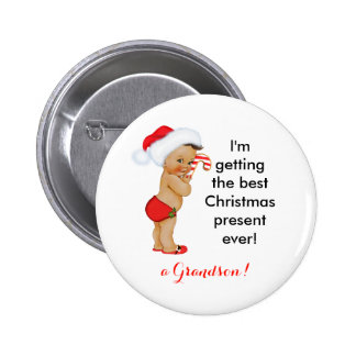 Baby Boy Christmas Announcement Customizable 6 Cm Round Badge