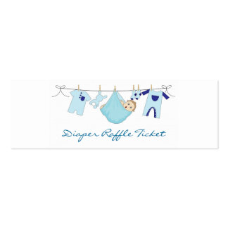 Baby Boy Clothes Line Diaper Raffle - Skinny Card Business Card Template