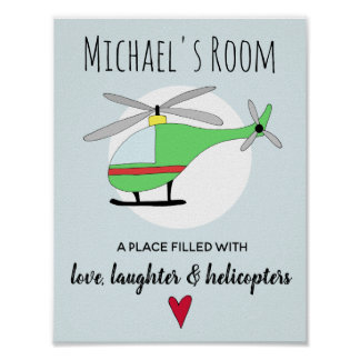 Baby Boy Colorful Helicopter Aircraft Name Nursery Poster