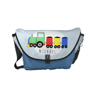 Baby Boy Colorful Train with Name Diaper Courier Bag