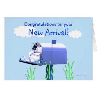 Baby Boy Congratulations - Bunny in Mailbox Greeting Card
