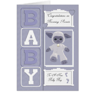baby boy congratulations with little sheep greeting card