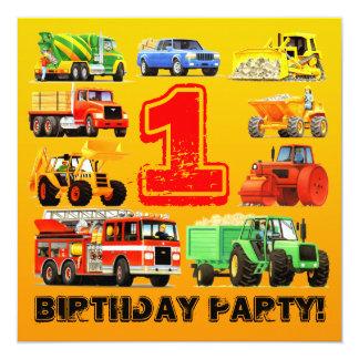 Baby Boy Construction Trucks 1st Birthday Party 13 Cm X 13 Cm Square Invitation Card