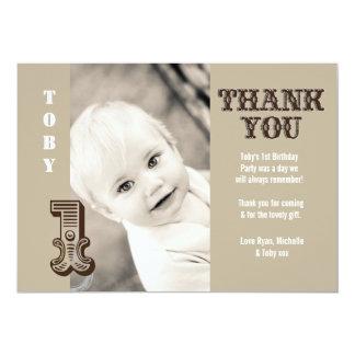 Baby Boy Cowboy 1st Birthday Thank You Photo Card 13 Cm X 18 Cm Invitation Card