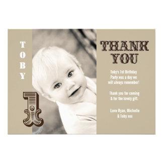 Baby Boy Cowboy 1st Birthday Thank You Photo Card