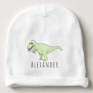 Baby Boy Doodle T-Rex Dinosaur with Name Baby Beanie